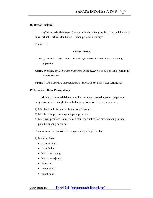 Rangkuman Materi Bahasa Indonesia Sd Kelas 6 Semester 1