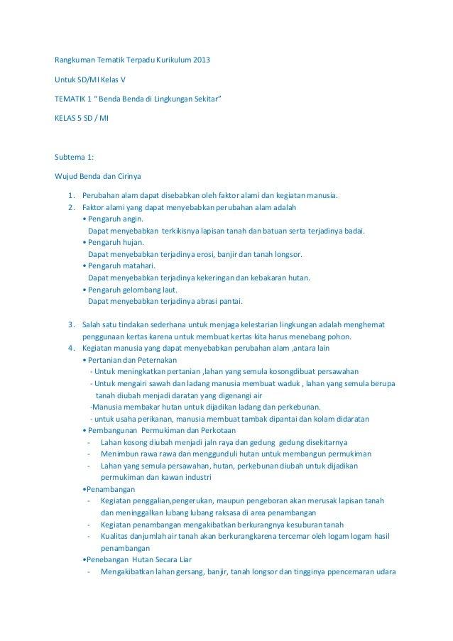 Rangkuman Tematik Terpadu Kurikulum 2013 Klas 5