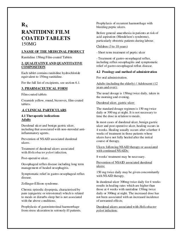 Ranitidine 150mg Film Coated Tablets Smpc Taj Pharmaceuticals