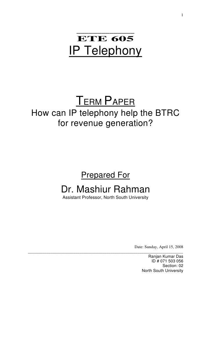 1                            ______________                          ETE 605                      IP Telephony            ...