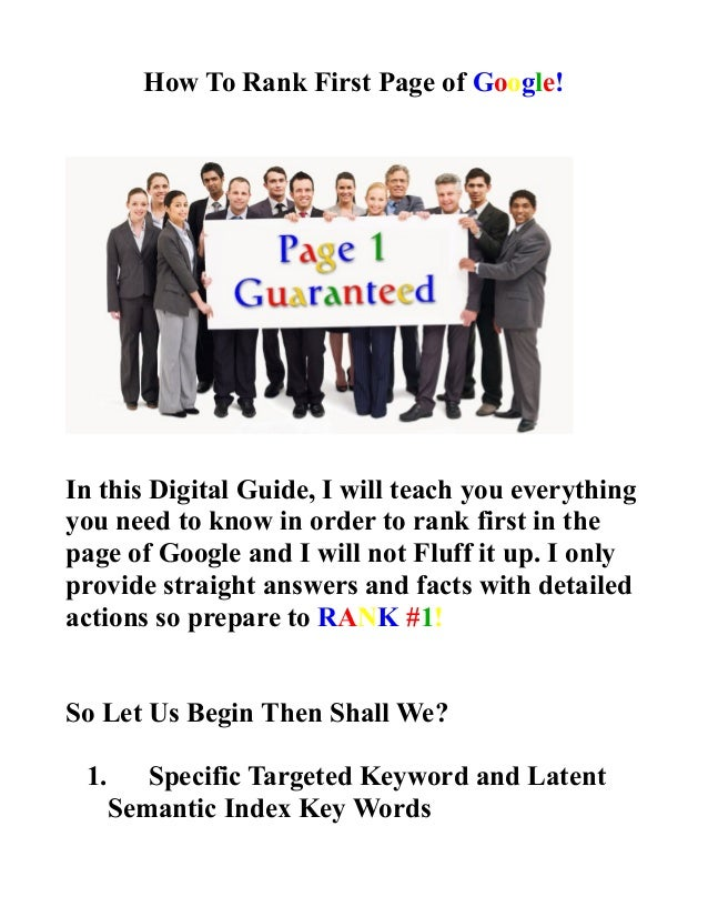 How To Rank First Page of Google! In this Digital Guide, I will teach you everything you need to know in order to rank fir...