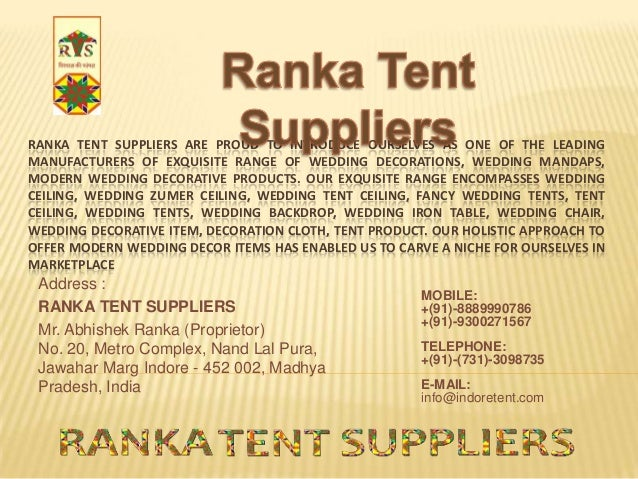 RANKA TENT SUPPLIERS ARE PROUD TO INTRODUCE OURSELVES AS ONE OF THE LEADING MANUFACTURERS OF EXQUISITE ...  sc 1 st  SlideShare & Ranka tent suppliers