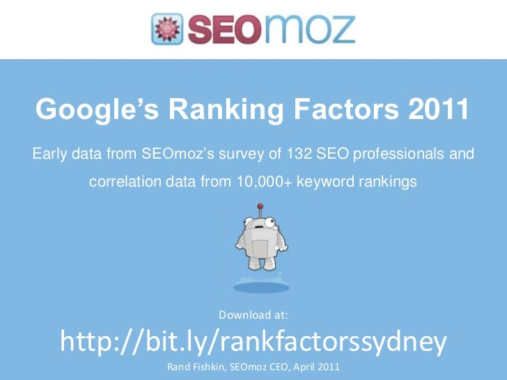 Ranking Factors Data 2011: SMX Elite Sydney