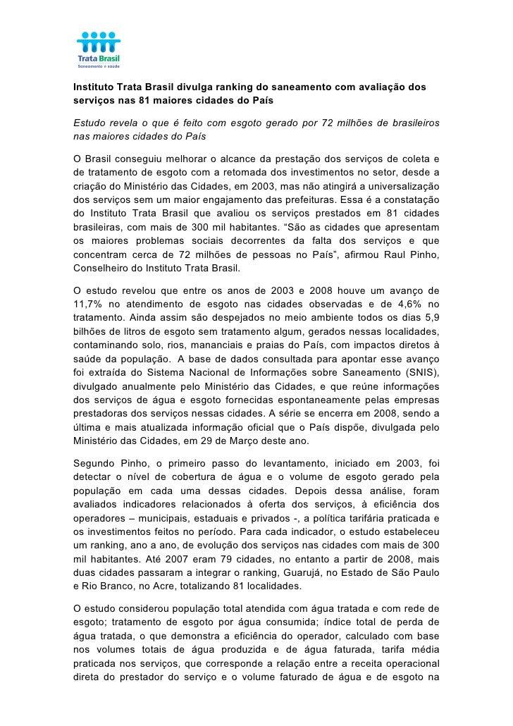 Instituto Trata Brasil divulga ranking do saneamento com avaliação dos serviços nas 81 maiores cidades do País  Est...