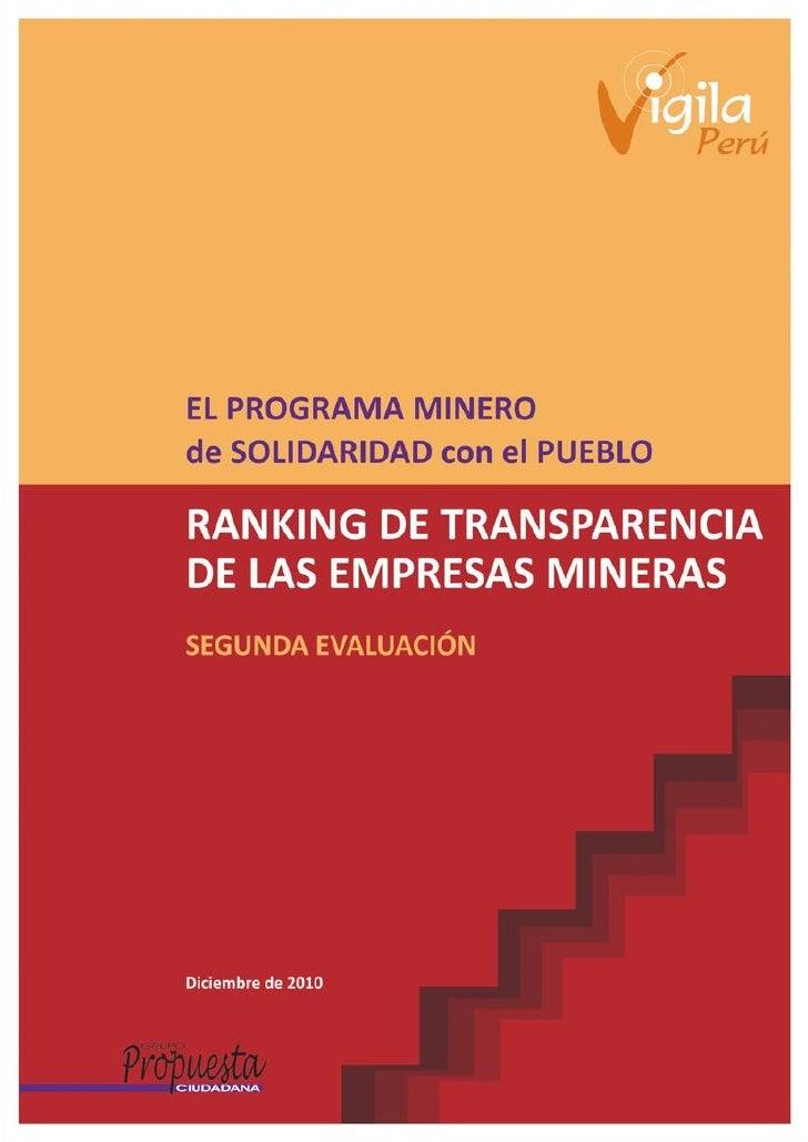 El PROGRAMA MINEROde SOLIDARIDAD con el PUEBLORANKING DE TRANSPARENCIADE LAS EMPRESAS MINERASSEGUNDA EVALUACIÓN