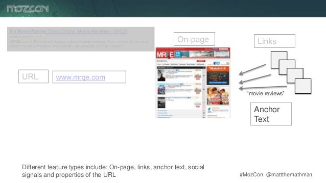 #MozCon @mattthemathman10 Different feature types include: On-page, links, anchor text, social signals and properties of t...