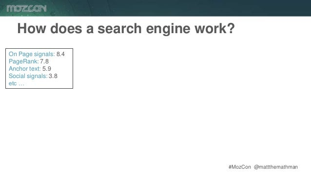 #MozCon @mattthemathman On Page signals: 8.4 PageRank: 7.8 Anchor text: 5.9 Social signals: 3.8 etc … How does a search en...
