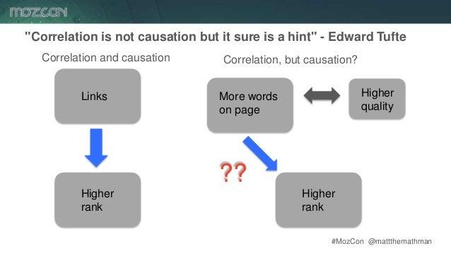 "#MozCon @mattthemathman26 ""Correlation is not causation but it sure is a hint"" - Edward Tufte Links Higher rank Correlatio..."