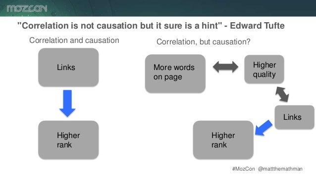"#MozCon @mattthemathman28 ""Correlation is not causation but it sure is a hint"" - Edward Tufte Links Higher rank Correlatio..."