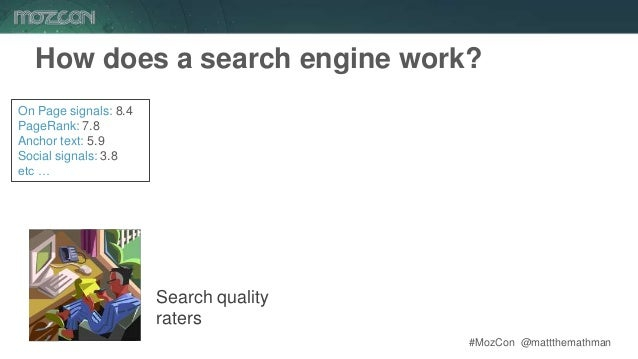 #MozCon @mattthemathman Search quality raters On Page signals: 8.4 PageRank: 7.8 Anchor text: 5.9 Social signals: 3.8 etc ...