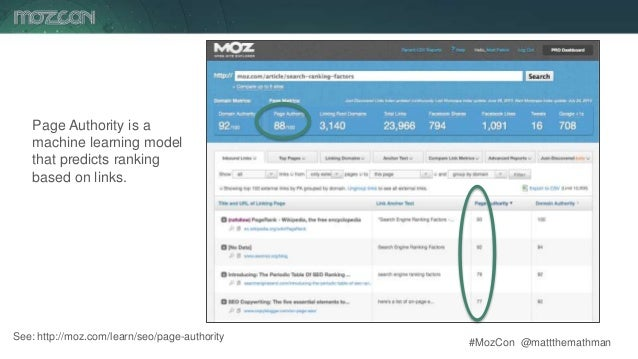 #MozCon @mattthemathman31 Page Authority is a machine learning model that predicts ranking based on links. See: http://moz...