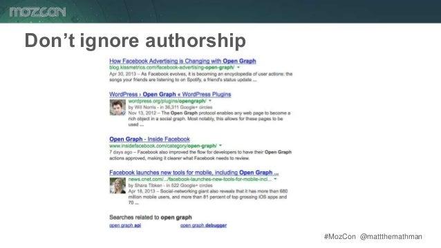 #MozCon @mattthemathman49 Don't ignore authorship