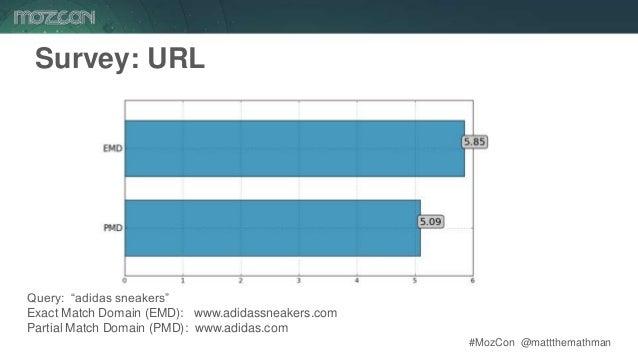 "#MozCon @mattthemathman52 Survey: URL Query: ""adidas sneakers"" Exact Match Domain (EMD): www.adidassneakers.com Partial Ma..."