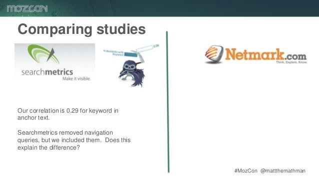 #MozCon @mattthemathman67 Comparing studies Our correlation is 0.29 for keyword in anchor text. Searchmetrics removed navi...