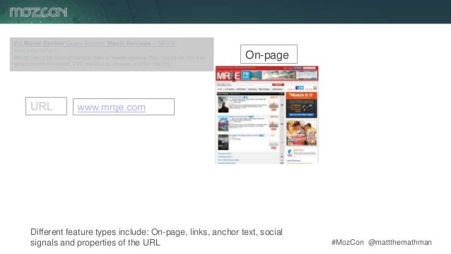 #MozCon @mattthemathman8 Different feature types include: On-page, links, anchor text, social signals and properties of th...
