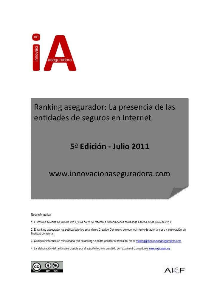 Ranking asegurador: La presencia de las  entidades de seguros en Internet                                 5ª Edición - Jul...