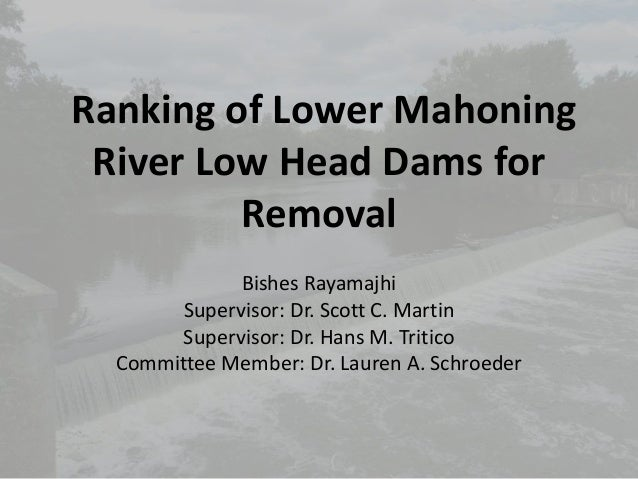 Ranking of Lower Mahoning River Low Head Dams for Removal Bishes Rayamajhi Supervisor: Dr. Scott C. Martin Supervisor: Dr....
