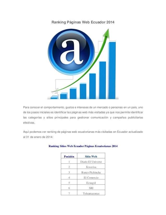 Ranking Páginas Web Ecuador 2014  Para conocer el comportamiento, gustos e intereses de un mercado o personas en un país, ...
