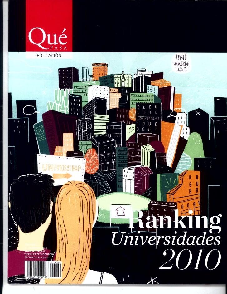 Ranking 2010 Escuelas de Psicología en Chile, Revista Que Pasa