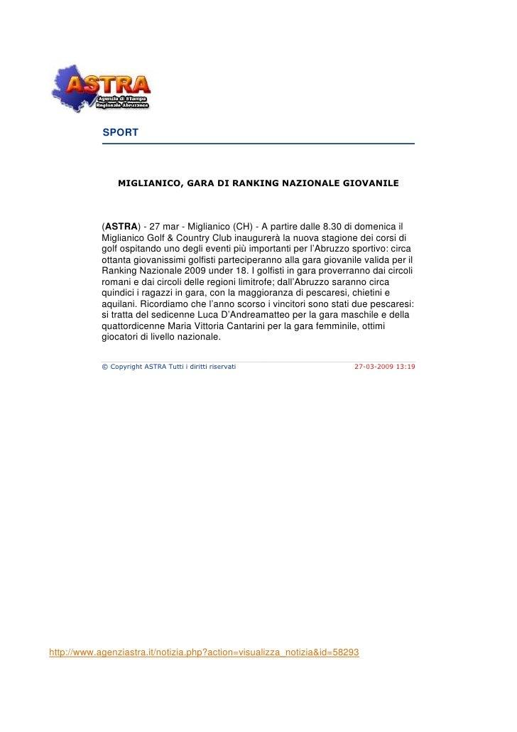 SPORT                     MIGLIANICO, GARA DI RANKING NAZIONALE GIOVANILE                 (ASTRA) - 27 mar - Miglianico (C...