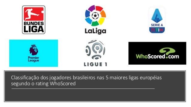 Classifica��o dos jogadores brasileiros nas 5 maiores ligas europ�ias segundo o rating WhoScored