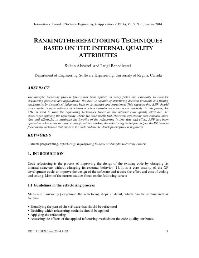 International Journal of Software Engineering & Applications (IJSEA), Vol.5, No.1, January 2014  RANKINGTHEREFACTORING TEC...