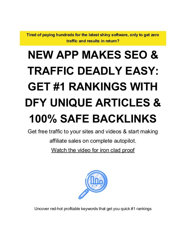 Tired of paying hundreds for the latest shiny software, only to get zero traffic and results in return? NEW APP MAKES SEO ...