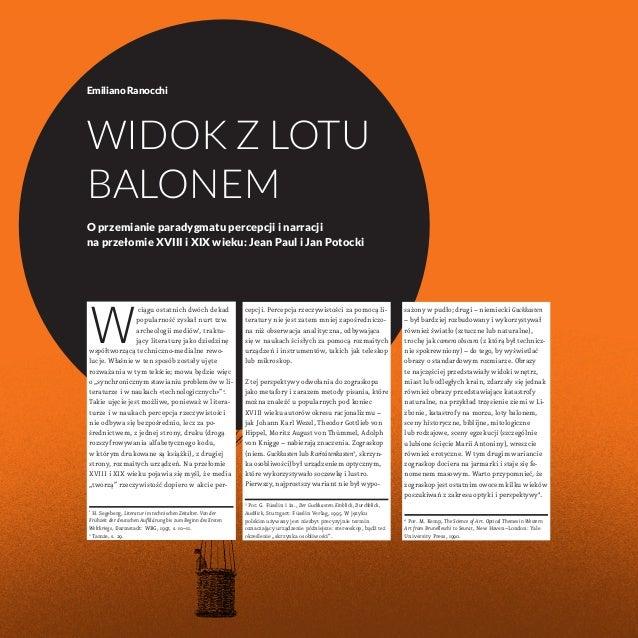 Emiliano Ranocchi  Widok z lotu  balonem  O przemianie paradygmatu percepcji i narracji  na przełomie XVIII i XIX wieku: J...