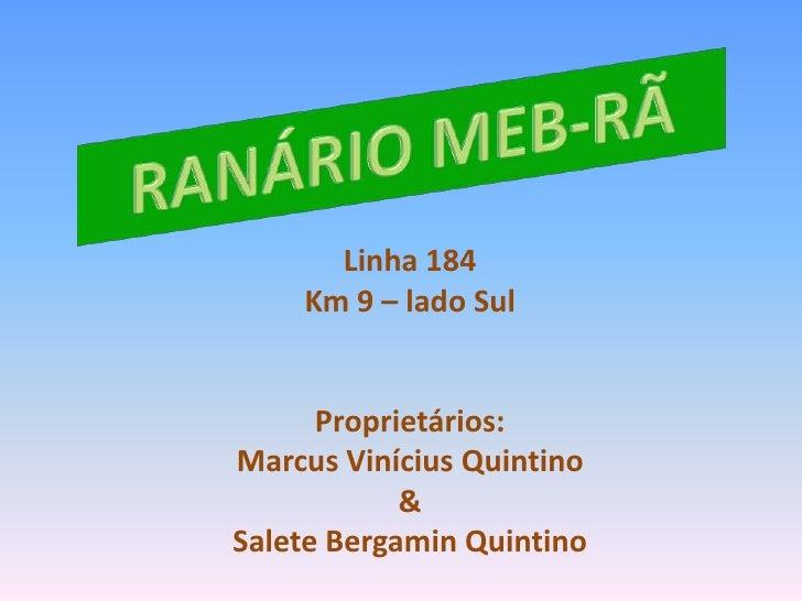 RANÁRIO MEB-RÃ<br />Linha 184<br />Km 9 – lado Sul<br />Proprietários:<br />Marcus Vinícius Quintino<br />&<br />Salete Be...