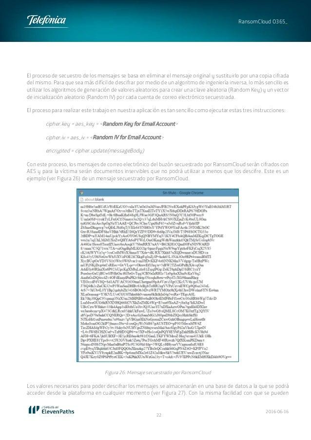 2016-06-16 22 RansomCloud O365_ El proceso de secuestro de los mensajes se basa en eliminar el mensaje original y sustitui...