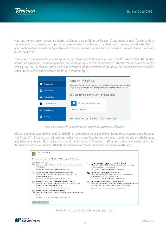2016-06-16 27 RansomCloud O365_ Hay que tener presente que la plataforma Sappo y su módulo de RansomCloud puede seguir fun...