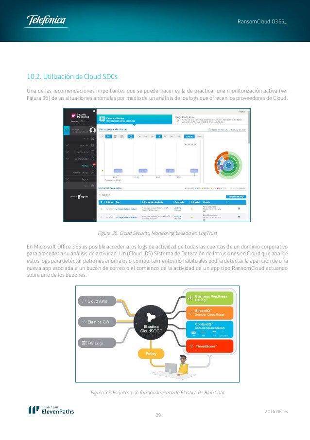 2016-06-16 29 RansomCloud O365_ 10.2. Utilización de Cloud SOCs Una de las recomendaciones importantes que se puede hacer ...