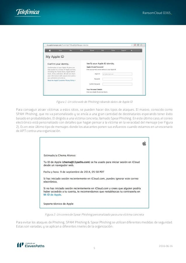 2016-06-16 5 RansomCloud O365_ Figura 1: Un sitio web de Phishing robando datos de Apple ID Para conseguir atraer víctimas...