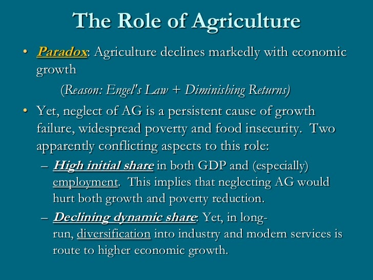 the role of agriculture in development This work is basically based on the role of agriculture in the economic development of pakistan the secondary data was collected in year 2005 to 2014the main aim of this paper was to study and analyze the significance relationship of agriculture.