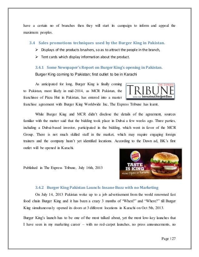 Burger King Performance In Pakistan Narketing Related Strategies