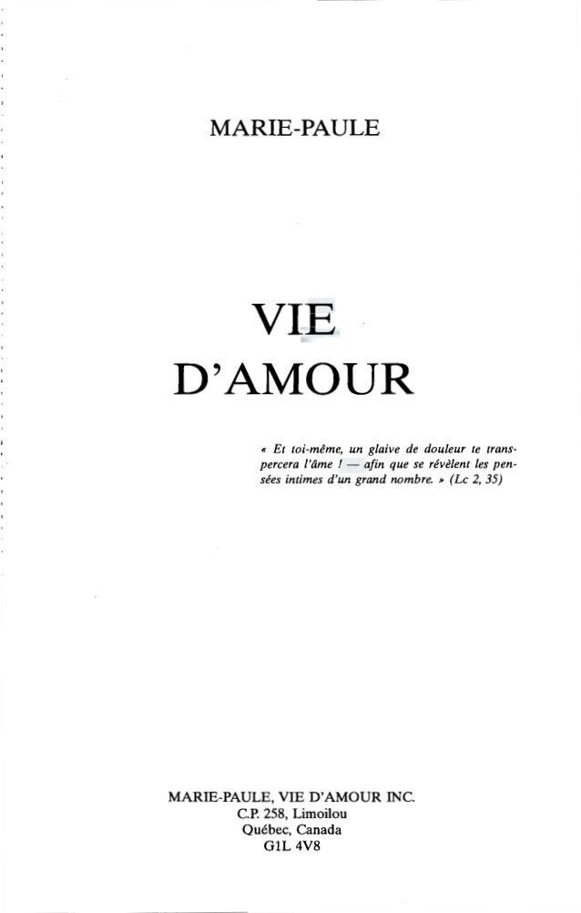 1 PREFACE L'immense somme de Vie d'Amour, dont quinze volumes  sont écrits, constitue un témoignage mystique d'une grande ...