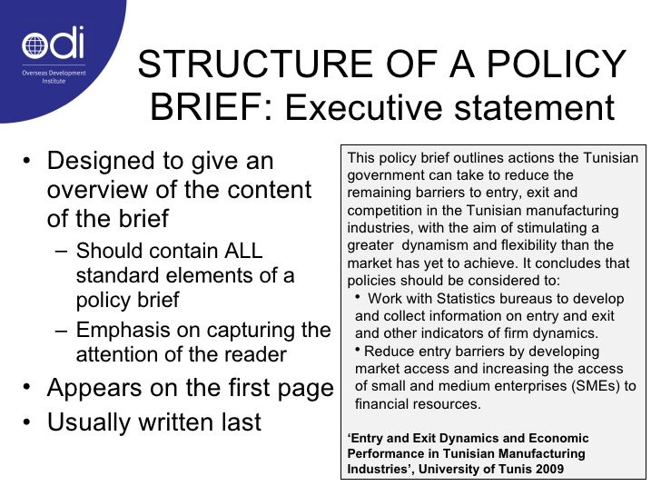 23 STRUCTURE OF A POLICY BRIEF