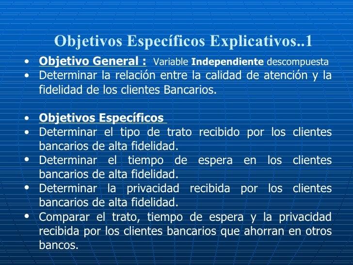 Objetivos Específicos Explicativos..1 <ul><li>Objetivo General :   Variable  Independiente  descompuesta </li></ul><ul><li...
