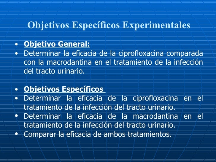 Objetivos Específicos Experimentales <ul><li>Objetivo General: </li></ul><ul><li>Determinar la eficacia de la ciprofloxaci...