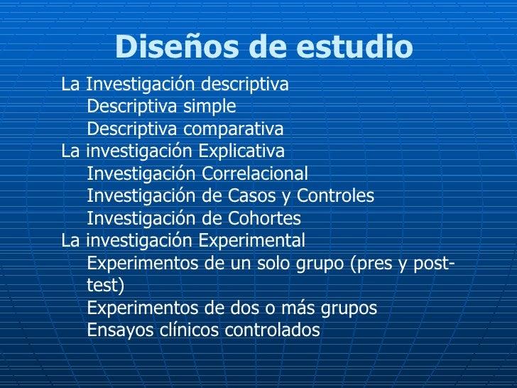 Diseños de estudio  <ul><li>La Investigación descriptiva </li></ul><ul><ul><li>Descriptiva simple </li></ul></ul><ul><ul><...