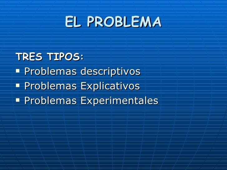 EL PROBLEMA <ul><li>TRES TIPOS: </li></ul><ul><li>Problemas descriptivos </li></ul><ul><li>Problemas Explicativos </li></u...