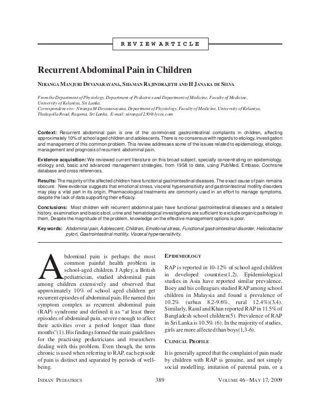 INDIAN PEDIATRICS 389 VOLUME 46__MAY 17, 2009 A bdominal pain is perhaps the most common painful health problem in school-...