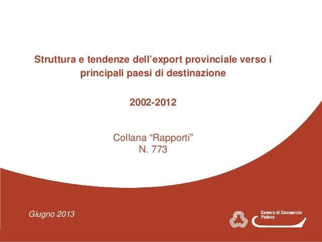 Giugno 2013 Struttura e tendenze dell'export provinciale verso i Struttura e tendenze dell'export provinciale verso i prin...
