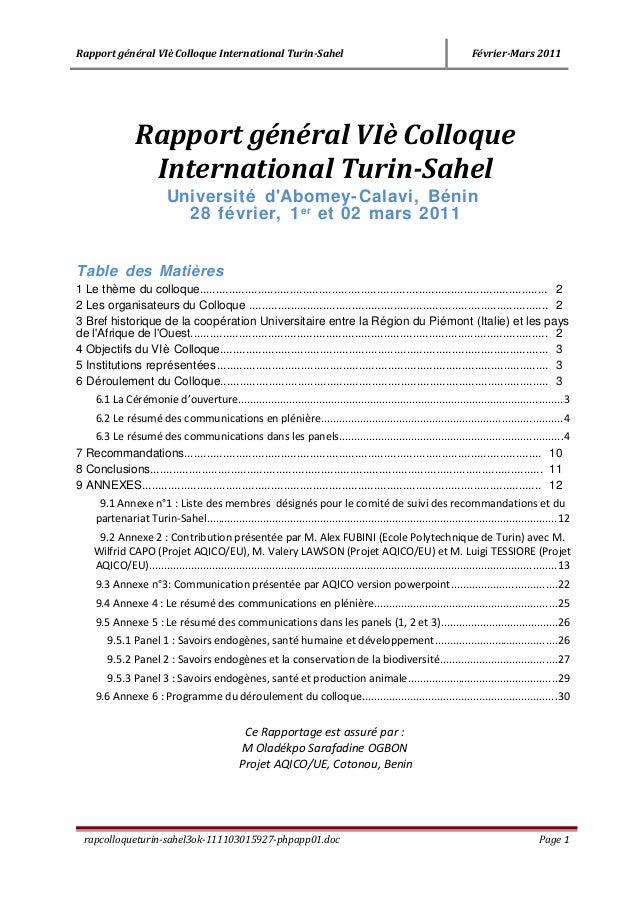 Rapport général VIè Colloque International Turin-Sahel Février-Mars 2011 Rapport général VIè Colloque International Turin-...