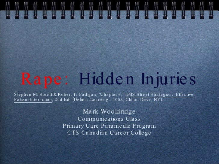 "Rape:  Hidden Injuries <ul><li>Stephen M. Soreff & Robert T. Cadigan, ""Chapter 6,""  EMS Street Strategies:  Effective Pati..."
