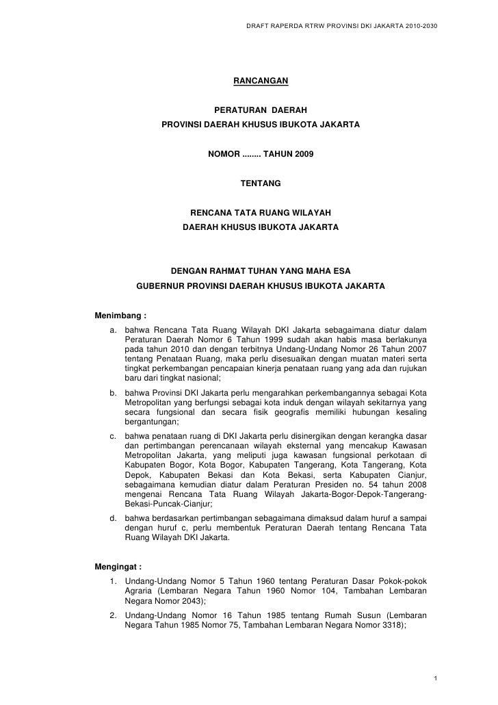 DRAFT RAPERDA RTRW PROVINSI DKI JAKARTA 2010-2030                                        RANCANGAN                        ...