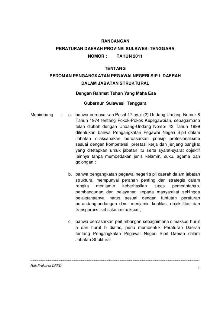 Raperda Ttg Pedoman Pengangkatan Pnsd Dalam Jabatan Struktural