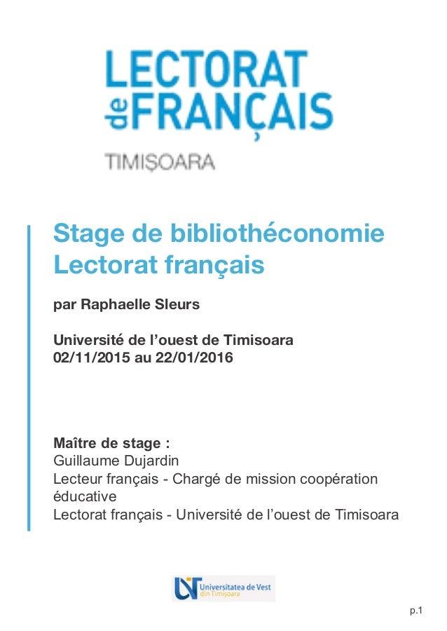 Rapport de stage en biblioth conomie - Page de garde rapport de stage open office ...