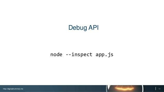 http://digitaldrummerj.me 19 Debug API node --inspect app.js
