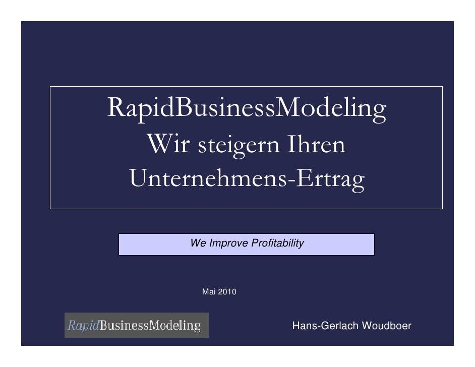 RapidBusinessModeling    Wir steigern Ihren  Unternehmens-Ertrag        We Improve Profitability            Mai 2010      ...